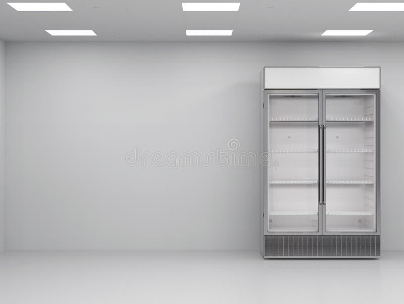 Kommersiell kyl i tomt rum stock illustrationer