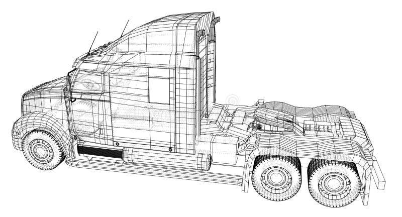 Kommersiell lastleveranslastbil isolerat Skapad illustration av 3d Tråd-ram royaltyfri illustrationer