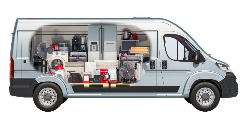Kommersiell leveransskåpbil med hem- elektronik inom Leveransnolla vektor illustrationer