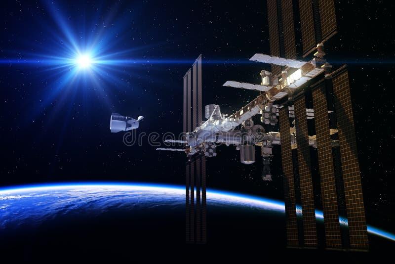 Kommersiell rymdskepp och internationella rymdstationen i strålarna av solen royaltyfri illustrationer