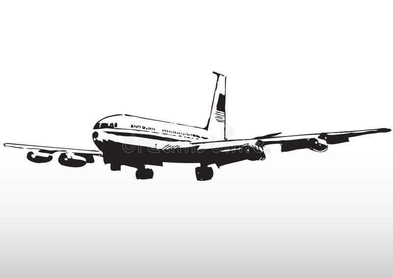 Kommersiell trafikflygplan i flyg royaltyfri illustrationer