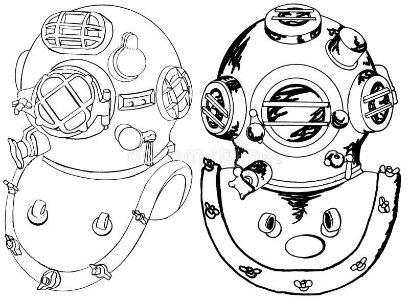 kommersiella dykhjälmar arkivbild