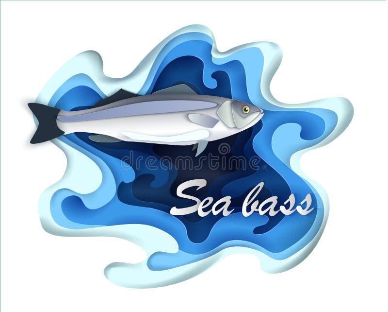 Kommersiella fisksebas, skaldjur i volymetriska lager för en trendig pappers- stil royaltyfri illustrationer