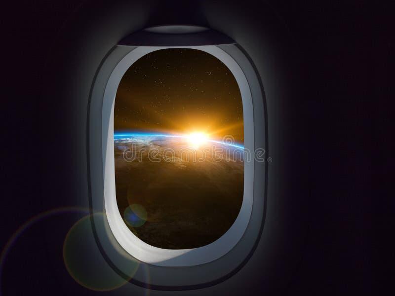 Kommersiellt begrepp för lopputrymme Flygplan- eller rymdskeppfönster som ser jordplaneten arkivfoton