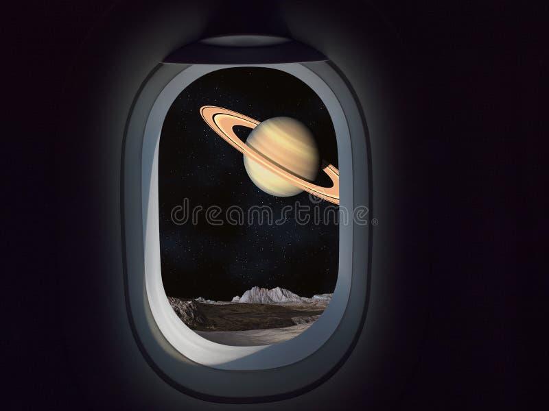 Kommersiellt begrepp för lopputrymme Flygplan- eller rymdskeppfönster som ser planeten med cirklar royaltyfri bild
