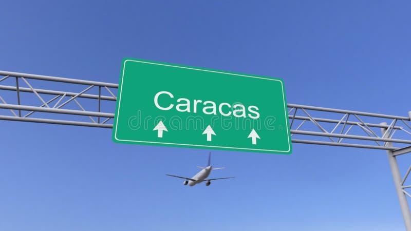 Kommersiellt flygplan för tvilling- motor som ankommer till den Caracas flygplatsen Resa till Venezuela den begreppsmässiga tolkn stock illustrationer