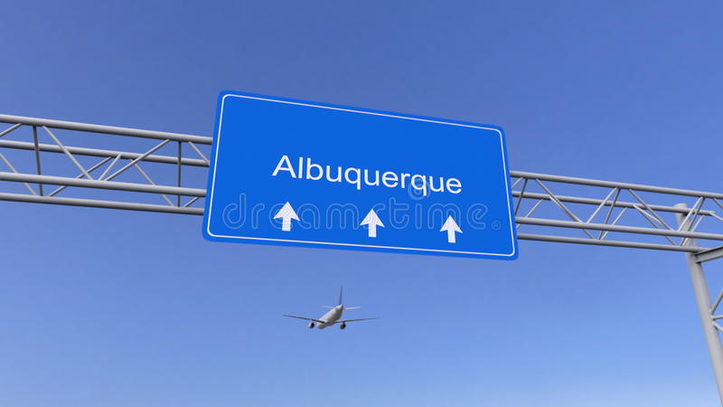 Kommersiellt flygplan som ankommer till den Albuquerque flygplatsen Resa till den begreppsmässiga tolkningen 3D för Förenta state royaltyfri foto