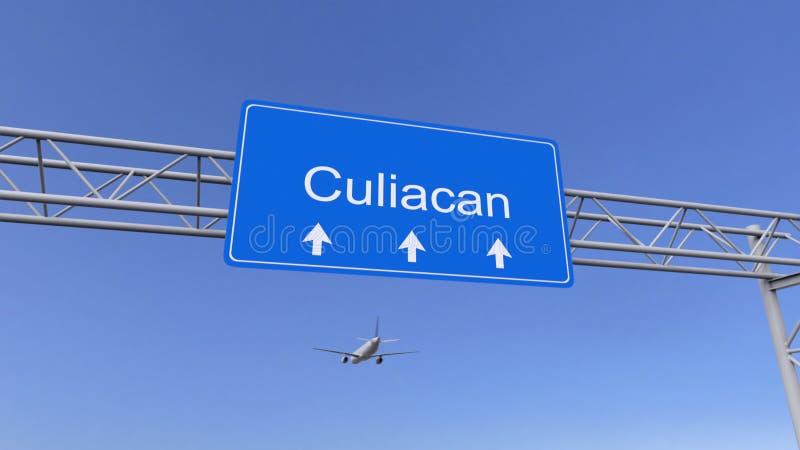 Kommersiellt flygplan som ankommer till den Culiacan flygplatsen Resa till Mexico den begreppsmässiga tolkningen 3D royaltyfri foto