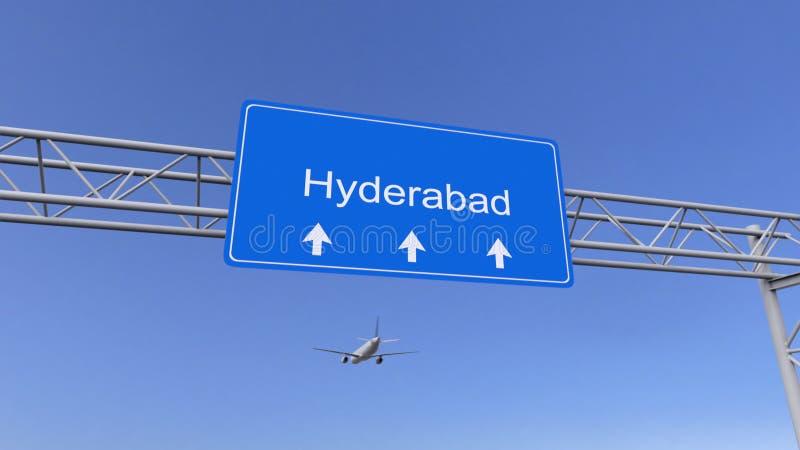 Kommersiellt flygplan som ankommer till den Hyderabad flygplatsen Resa till Indien den begreppsmässiga tolkningen 3D arkivbilder