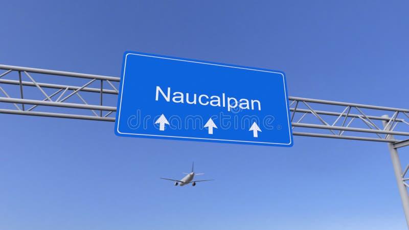 Kommersiellt flygplan som ankommer till den Naucalpan flygplatsen Resa till Mexico den begreppsmässiga tolkningen 3D royaltyfri bild