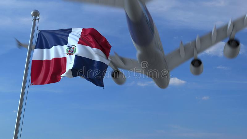 Kommersiellt flygplanflyg ovanför vinkande flagga av Dominikanska republiken framförande 3d vektor illustrationer