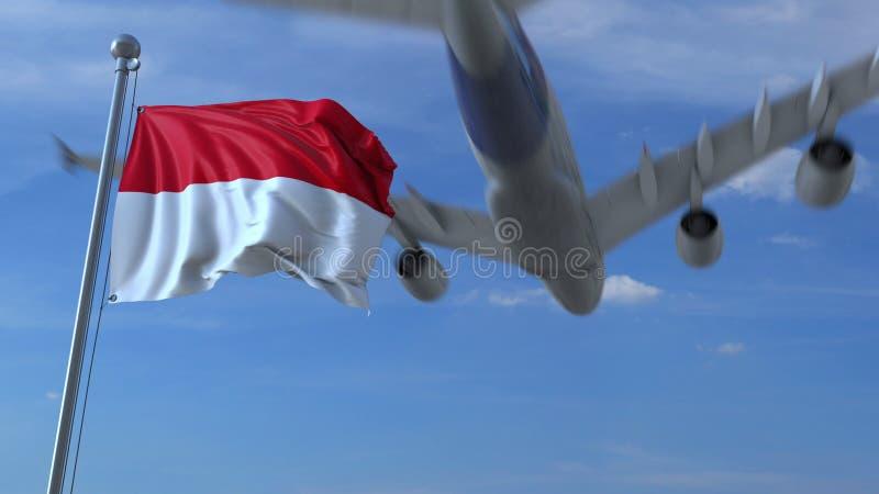 Kommersiellt flygplanflyg ovanför vinkande flagga av Indonesien framförande 3d royaltyfri illustrationer