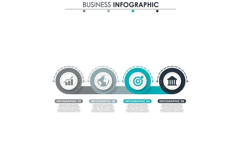 Kommerzielle Daten, Diagramm Abstrakte Elemente des Diagramms, des Diagramms mit 4 Schritten, der Strategie, der Wahlen, der Teil stock abbildung