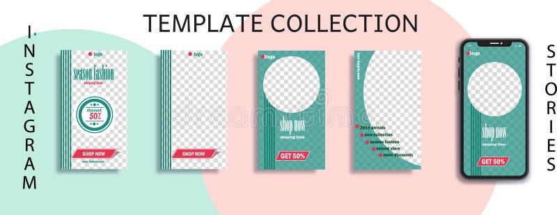 Kommerzielle Editable Instagram-Geschichtenschablone Schablone für Social Media-Netz Verkauf strömen stock abbildung