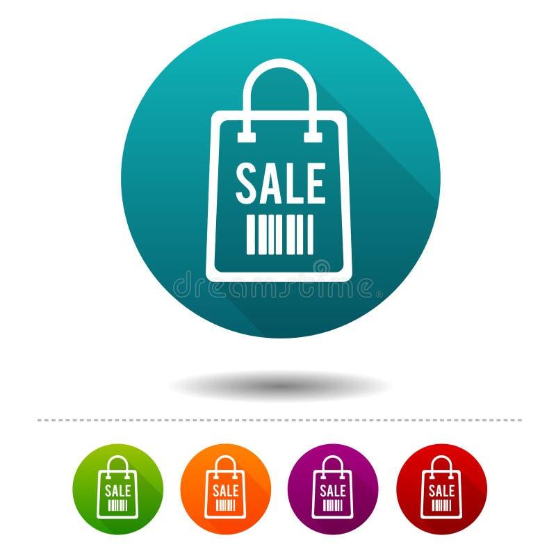 Kommerzielle lederne Umbauaufkleber Verkaufs-Taschenzeichen Einkaufssymbol Vektor-Kreisnetzknöpfe lizenzfreie abbildung