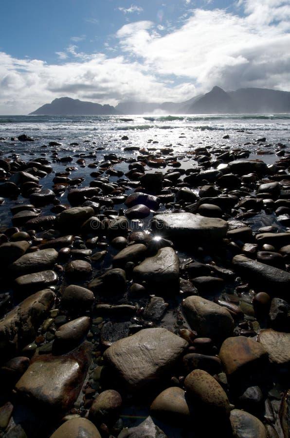 Kommetjie Sea View Vertical. View across rocky beach at Kommetjie near Cape Town, South Africa royalty free stock photos