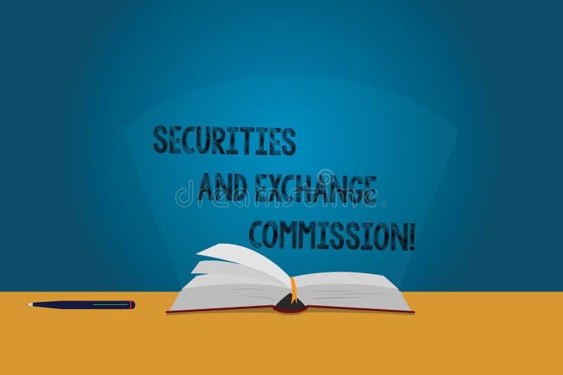 Kommission för för handskrifttextsäkerheter och utbyte Begrepp som betyder säkerhet som utbyter finansiella färgsidor för kommiss stock illustrationer
