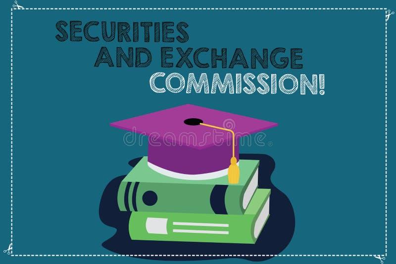 Kommission för säkerheter och för utbyte för handskrifttexthandstil Begrepp som betyder säkerhet som utbyter finansiella kommissi vektor illustrationer