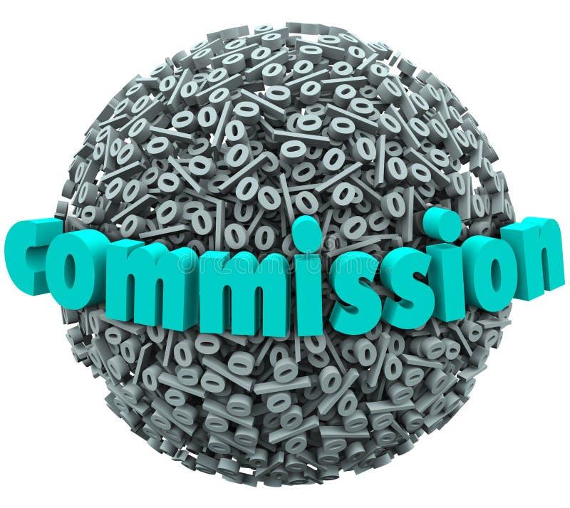 Kommissions-Prozent-Zeichen-Ball-Einkommen-Prämien-Lohnsatz lizenzfreie abbildung