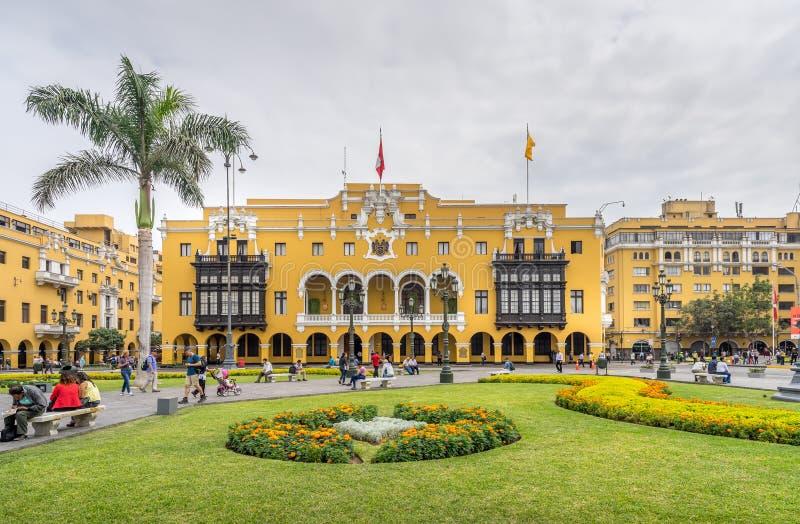Kommunal byggnad i Lima Peru royaltyfri bild