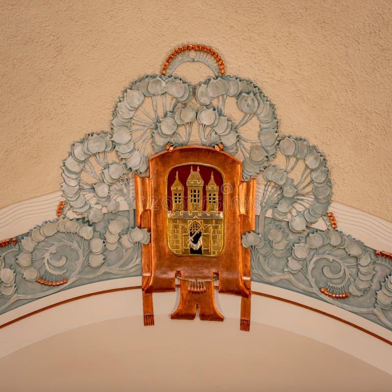 Kommunal Tjeckien för husPrague stad royaltyfria foton