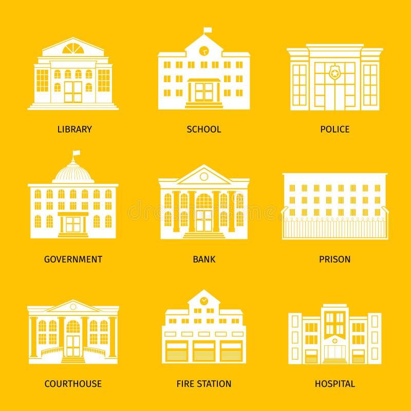 Kommunala byggnadsvitsymboler stock illustrationer