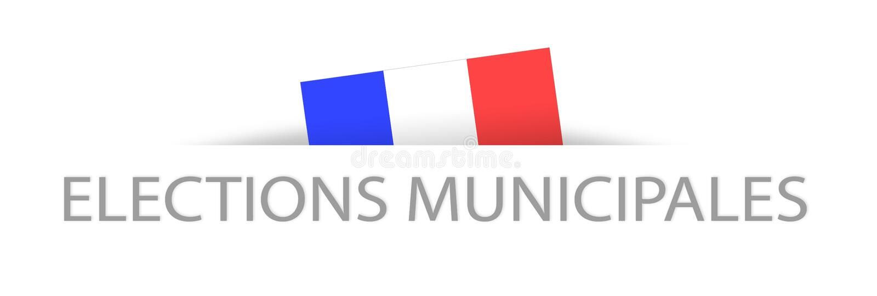 Kommunala val i franskt med en del dold fransk flagga royaltyfri illustrationer
