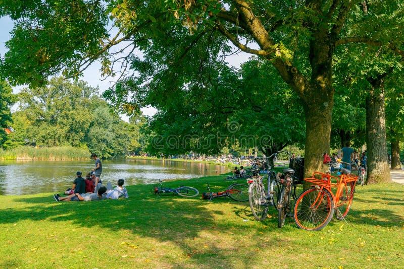 _ Kommunalt parkera Vondelpark arkivbild
