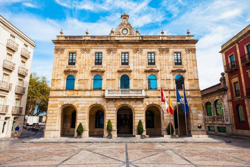 Kommunfullmäktige Gijon i Spanien arkivbild