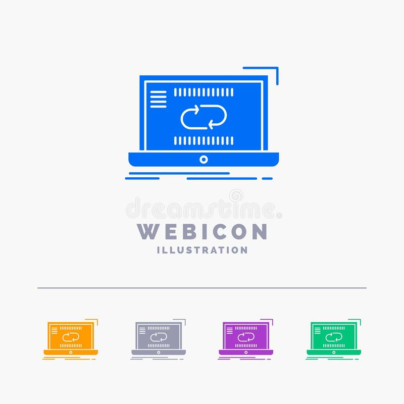 Kommunikation anslutning, sammanlänkning, synkronisering, för färgskåra för synkronisering som 5 mall för symbol för rengöringsdu vektor illustrationer