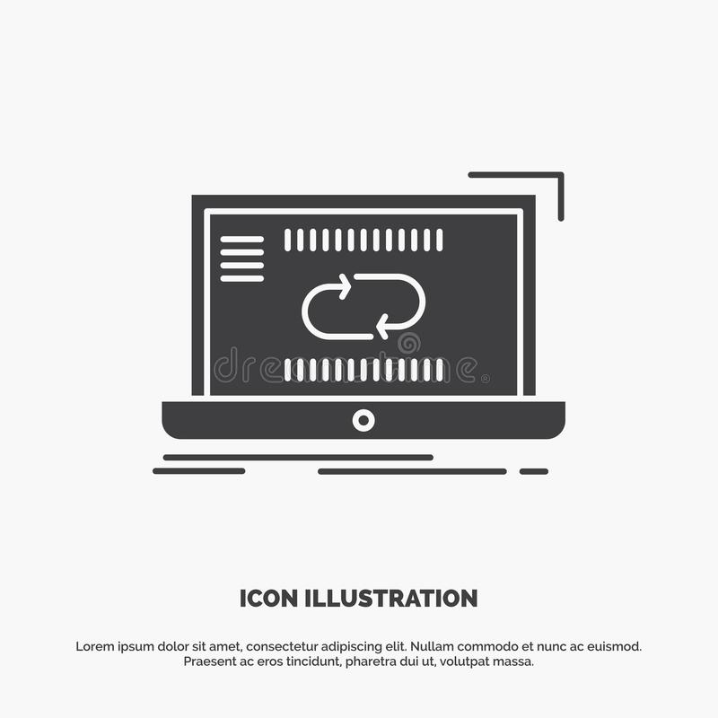 Kommunikation anslutning, sammanl?nkning, synkronisering, synkroniseringssymbol gr?tt symbol f?r sk?ravektor f?r UI och UX, websi royaltyfri illustrationer