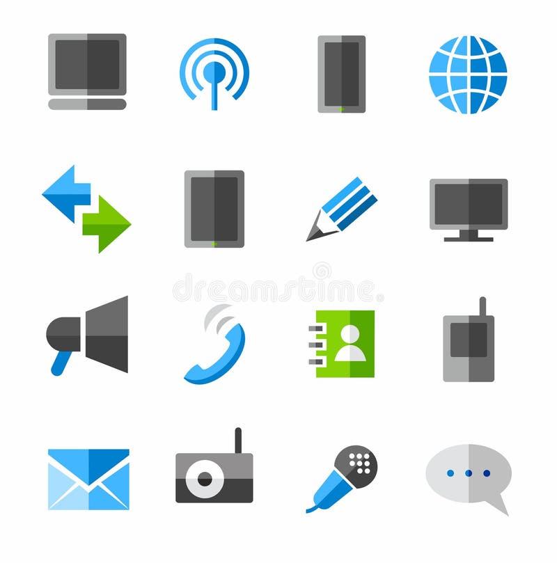 Kommunikation anslutning, symboler som färgas royaltyfri illustrationer
