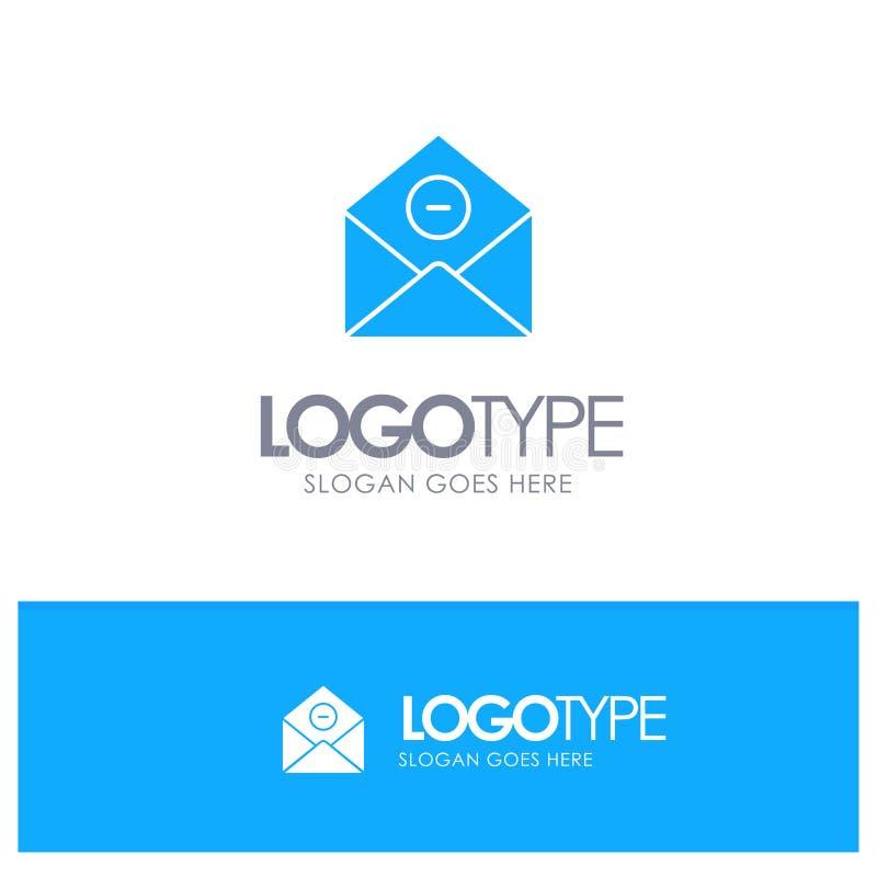 Kommunikation borttagnings, Borttagnings-post, blå fast logo för Email med stället för tagline vektor illustrationer