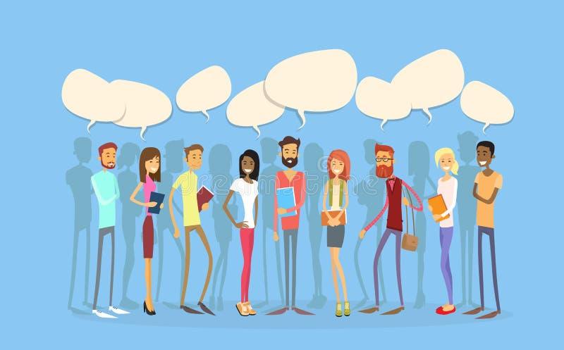 Kommunikation des Studentengruppe-Leute-Chat-Blasen-Sozialen Netzes vektor abbildung