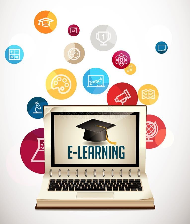 It-kommunikation - e-lära stock illustrationer