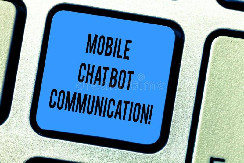 Kommunikation för Bot för pratstund för handskrifttext mobil Tangent för tangentbord för Digital service för konstgjord intellige arkivbilder