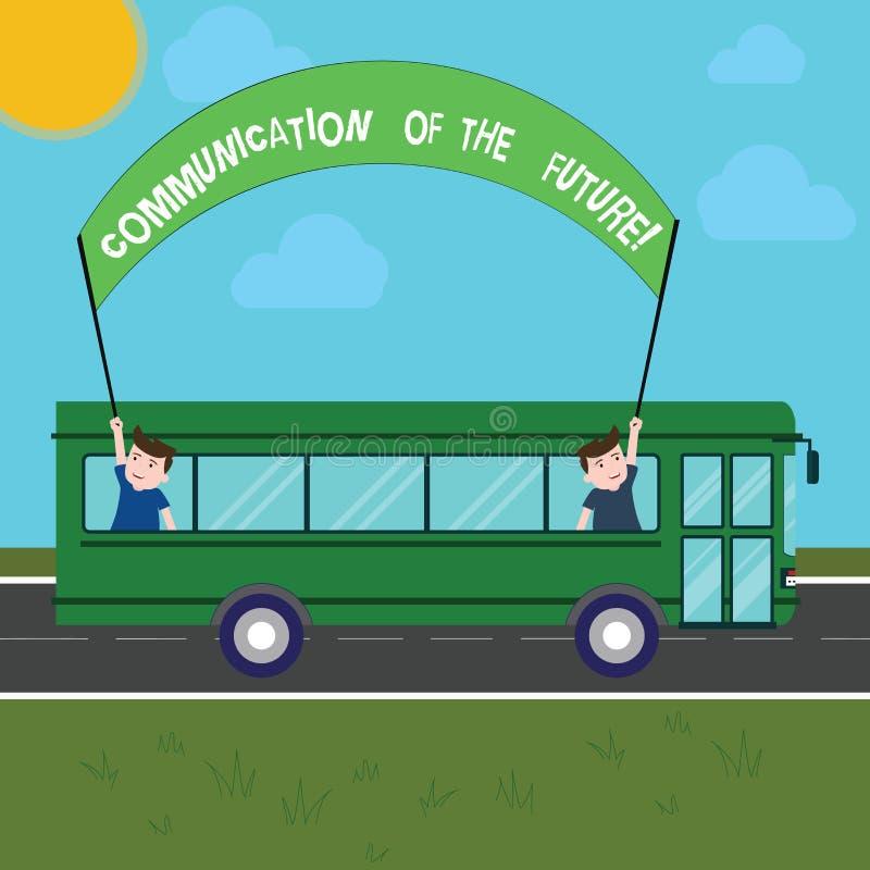 Kommunikation för handskrifttexthandstil av framtiden Teknologier för begreppsbetydelsehar kontakt online-sociala massmedia två stock illustrationer