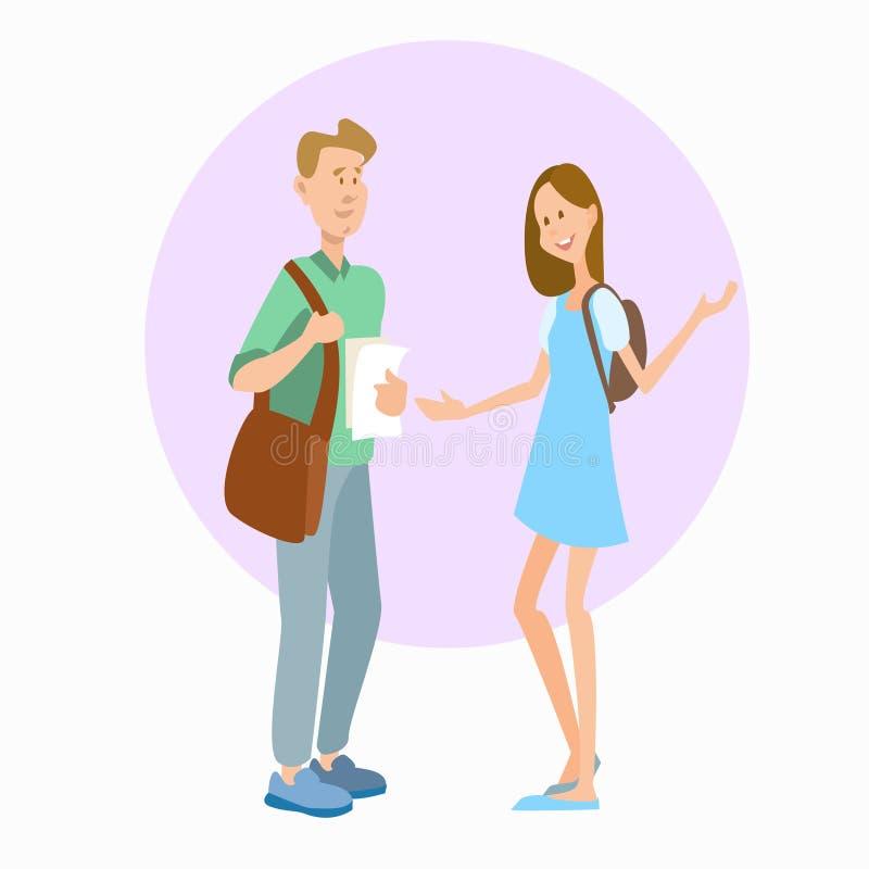Kommunikation för två för studentBoy And Girl universitet för utbildning elever för skola stock illustrationer