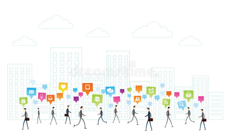 Kommunikation för vektoraffärsfolk på vit stadsbakgrund stock illustrationer