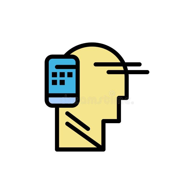 Kommunikation förbindelse, mänskligt som är mobil, plan färgsymbol för rörlighet Mall för vektorsymbolsbaner stock illustrationer