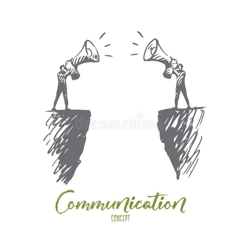Kommunikation folk, två, samtal, megafonbegrepp Hand dragen isolerad vektor royaltyfri illustrationer