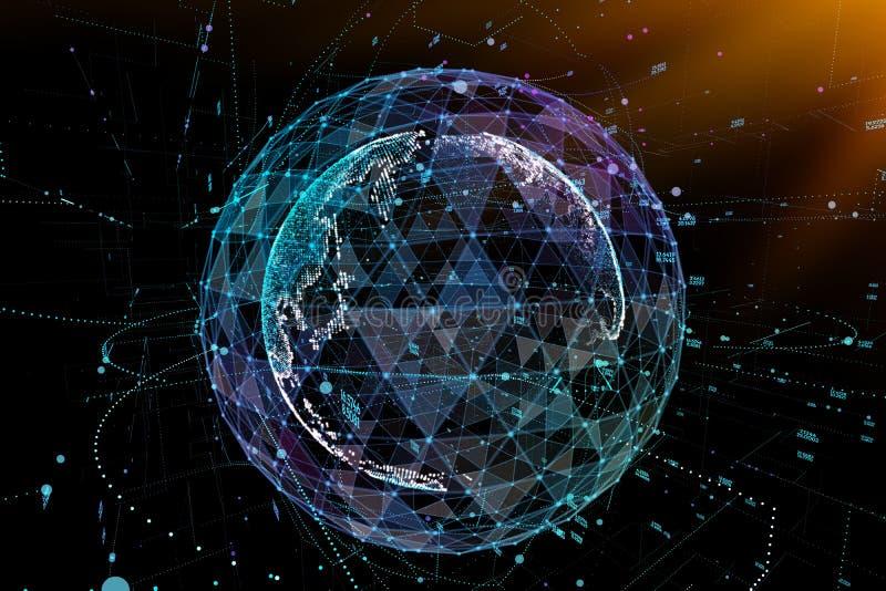 Kommunikation i digitalt nätverk jorda en kontakt jordklotet illustration 3d stock illustrationer