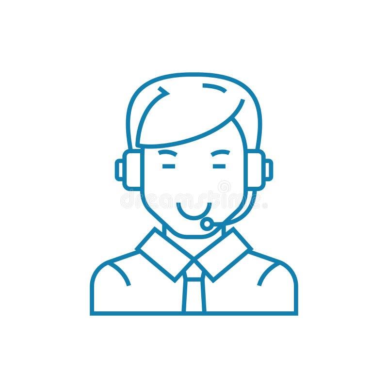 Kommunikation med linjärt symbolsbegrepp för kunder Kommunikation med kundlinjen vektortecken, symbol, illustration stock illustrationer