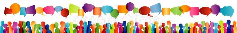Kommunikation mellan stora grupp människor som talar Folkmassasamtal Meddela social nätverkande Dialog mellan folk colo vektor illustrationer