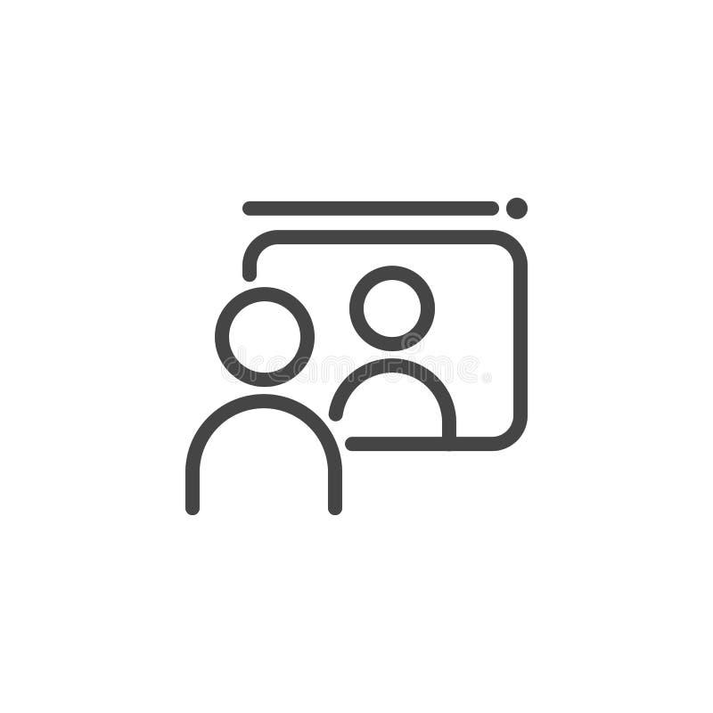 Kommunikation mellan två personer via internet Distansutbildning e-affär, online-video konsultationbegreppssymbol vektor illustrationer