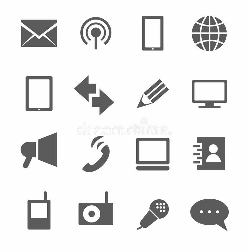 Kommunikation symboler, monokrom vektor illustrationer