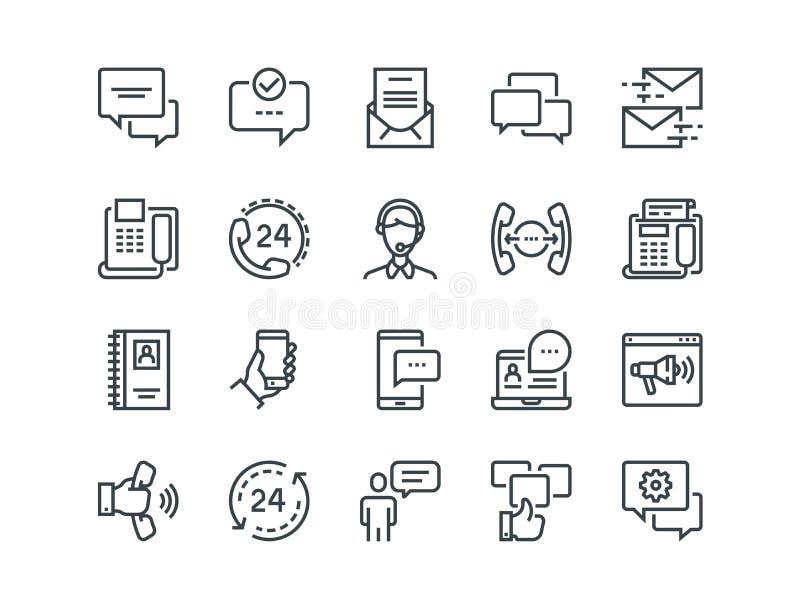 Kommunikation Uppsättning av översiktsvektorsymboler Inkluderar liksom påringningar, video pratstund, on-line service och annan royaltyfri illustrationer