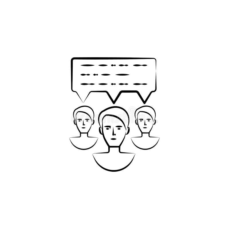 kommunikation utdragen symbol för meddelandehand Översiktssymboldesign från affärsuppsättning royaltyfri illustrationer
