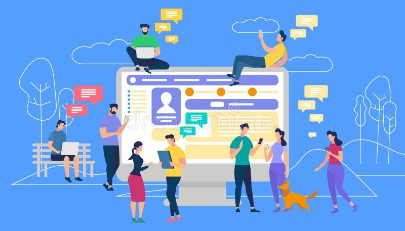 Kommunikation via internet, social nätverkande royaltyfri illustrationer