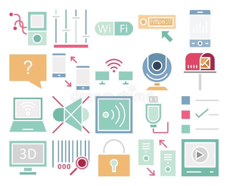 Kommunikationen och Digital apparater isolerade vektorsymbolsuppsättningen som kan lätt ändras eller redigera vektor illustrationer